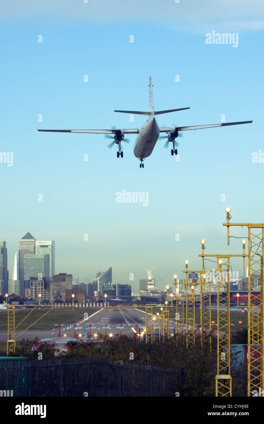 Regional airliner Landing at London City Airport, England, UKStock Photo