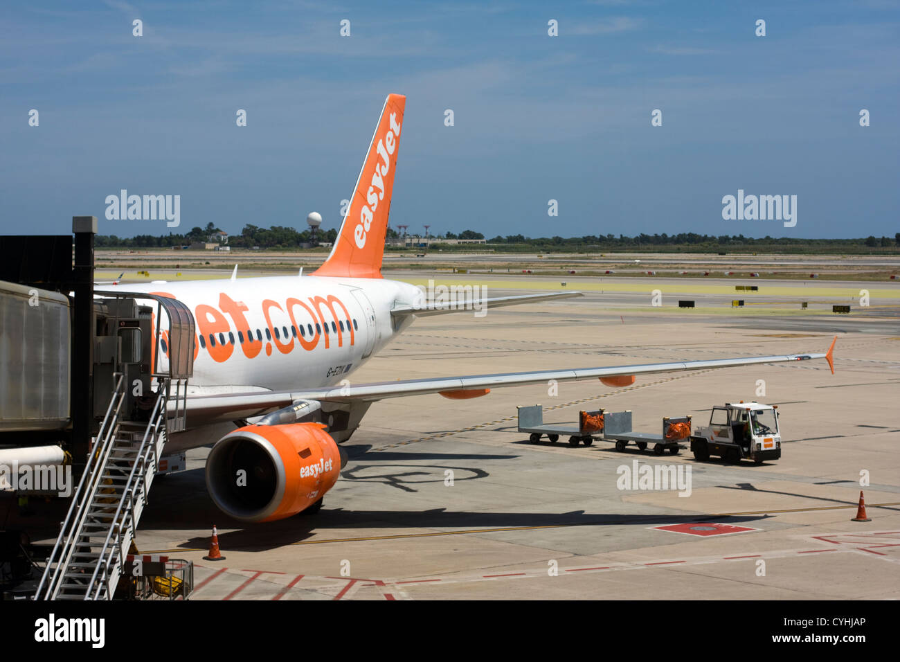 Passenger Airplane of Easy Jet at Barcelona El Prat Airport. - Stock Image