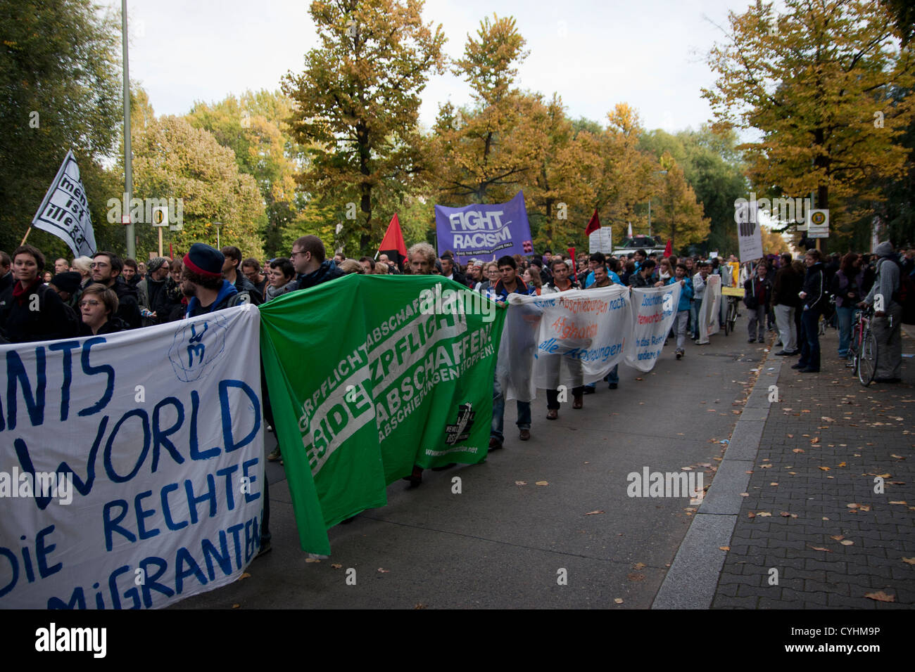 Saturday, 13 Oct. 2012. Berlin, Germany. Refugee protest march. Refugees protest against deportations and residential - Stock Image
