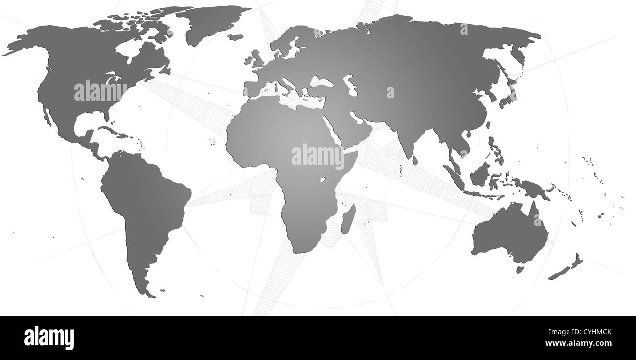 World map outline stock photos world map outline stock images alamy world map in black and white with a compass behind stock image publicscrutiny Images