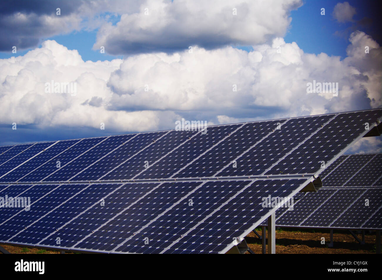 solar collector energy plant outside against sky - Stock Image