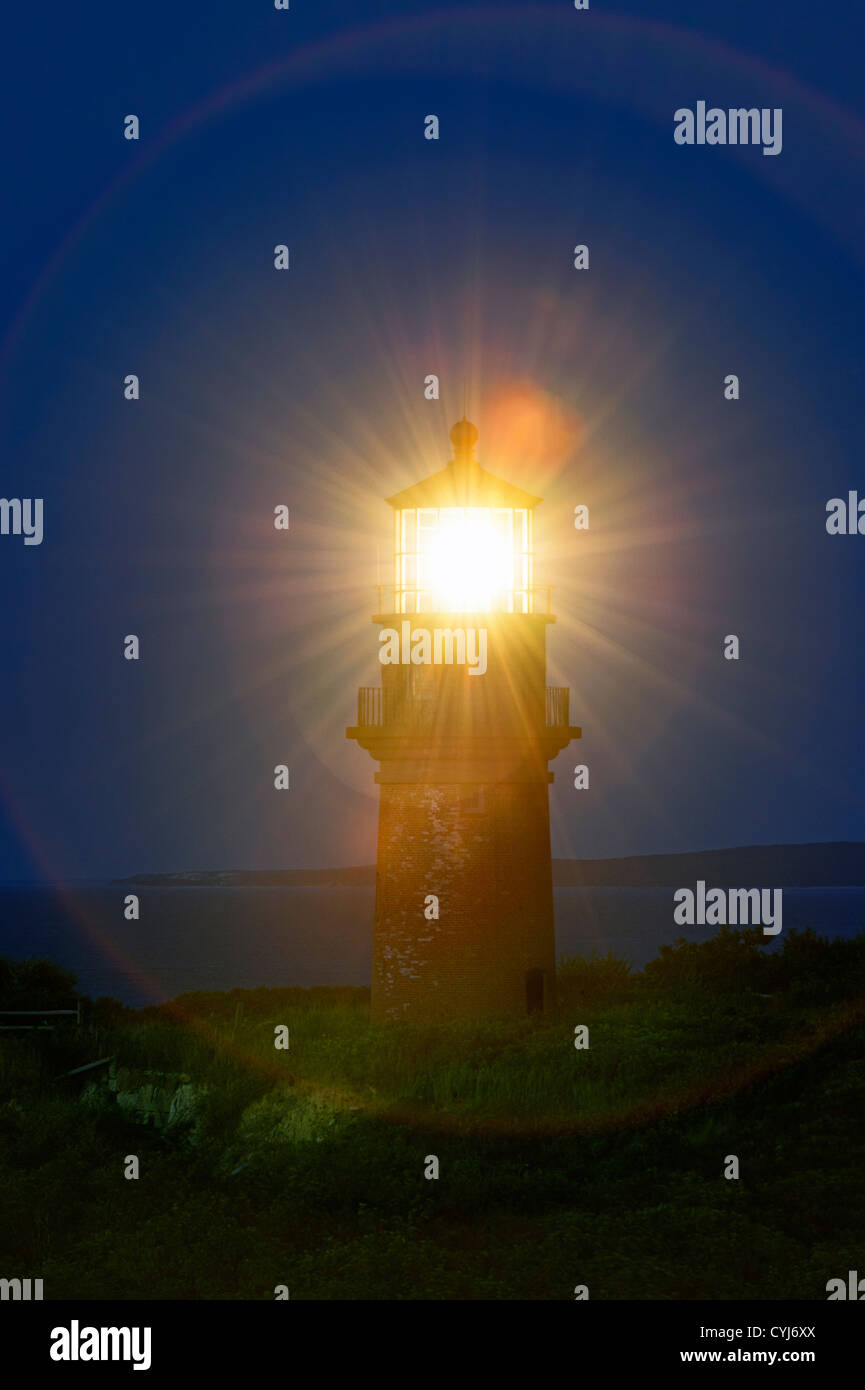 Gay Head Lighthouse, Aquinnah, Martha's Vineyard, Massachusetts, USA - Stock Image