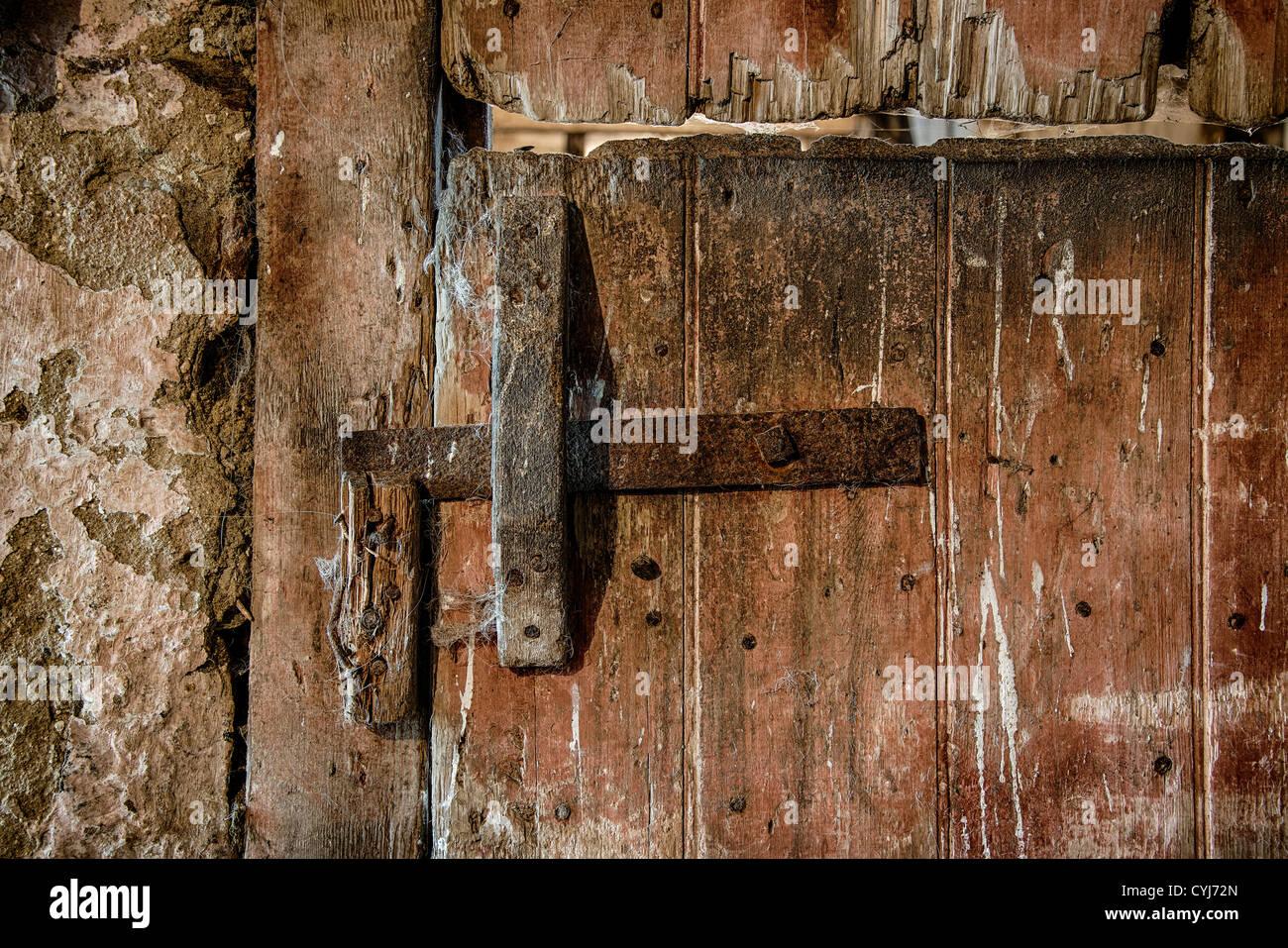 Rustic and worn stable door. - Stock Image