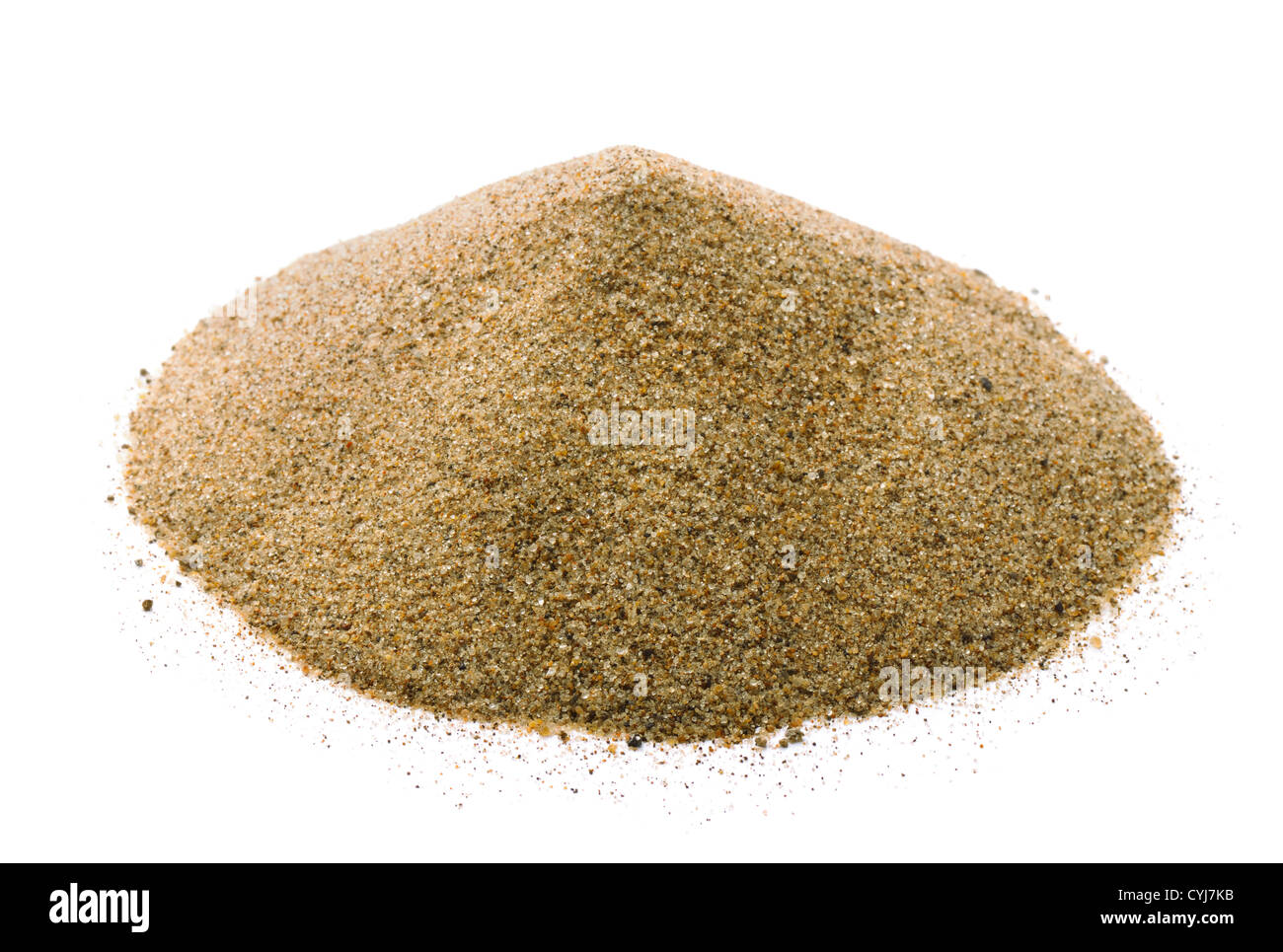Pile of dry sand isolated on white - Stock Image