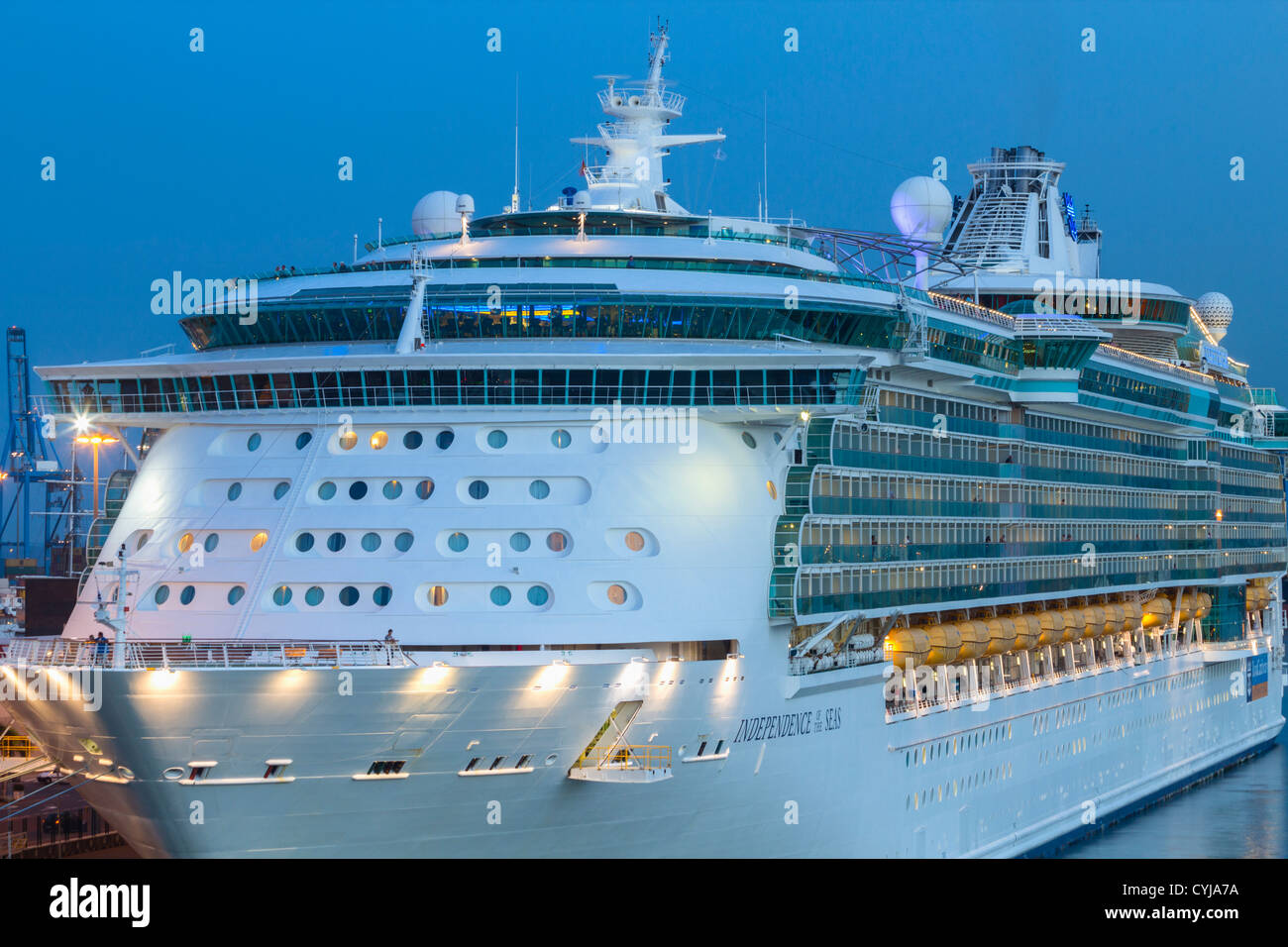Independence of the Seas cruise ship in Las Palmas port on Gran Canaria at dusk. - Stock Image
