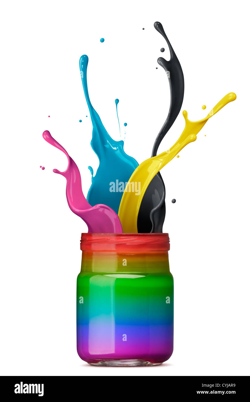 bottle of rainbow color ink with cmyk splash - Stock Image