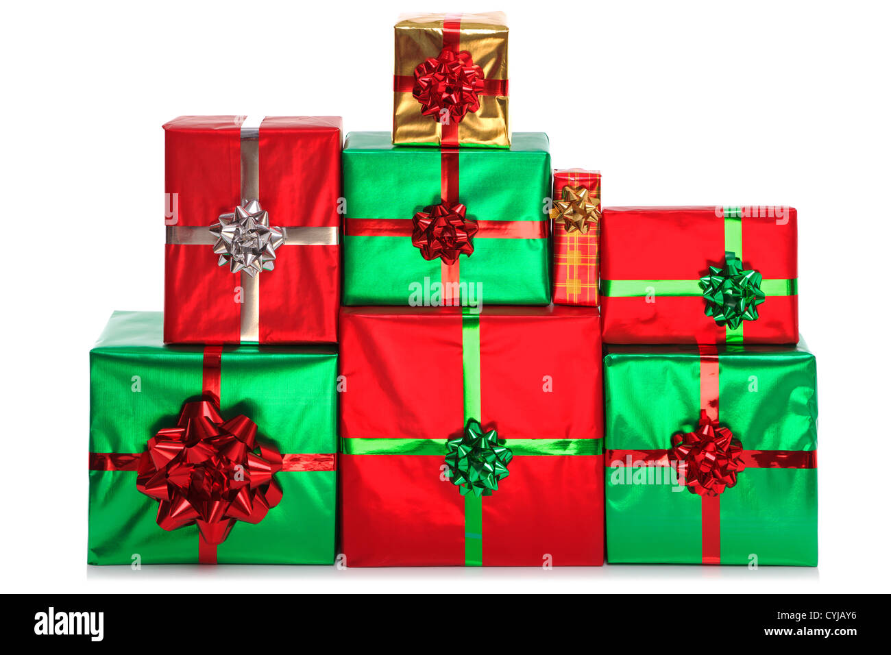 a group of gift wrapped presents in bright shiny wrapping paper with