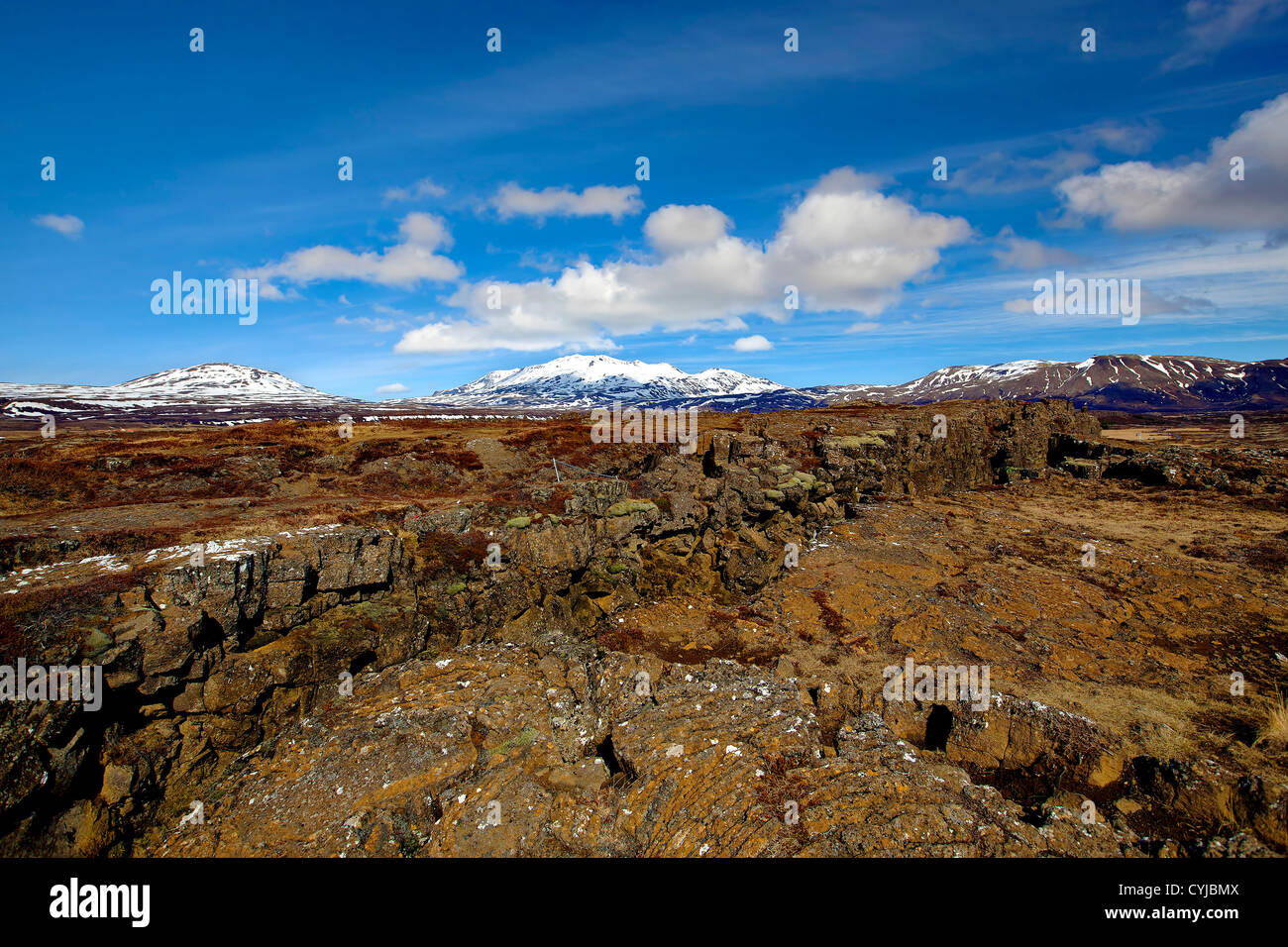 Thingvellir national park is the site of a rift valley that marks the crest of the Mid-Atlantic Ridge Stock Photo