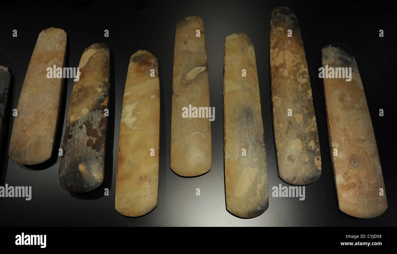 Polished flint axes. 3700-3500 BC. From Maglehojs Vange, between Malov and Smorun, west Copenhagen. - Stock Image