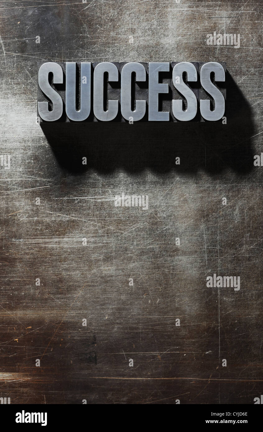 Old Metallic Letters:Success - metal background - Stock Image