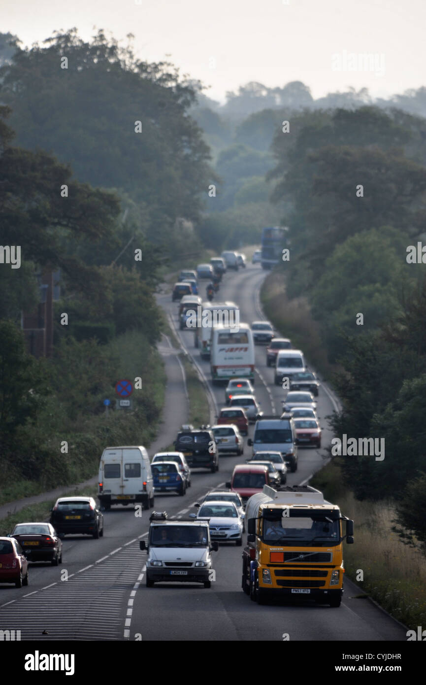 The traffic bottleneck as the A40 heading east into Oxford becomes one lane UK - Stock Image