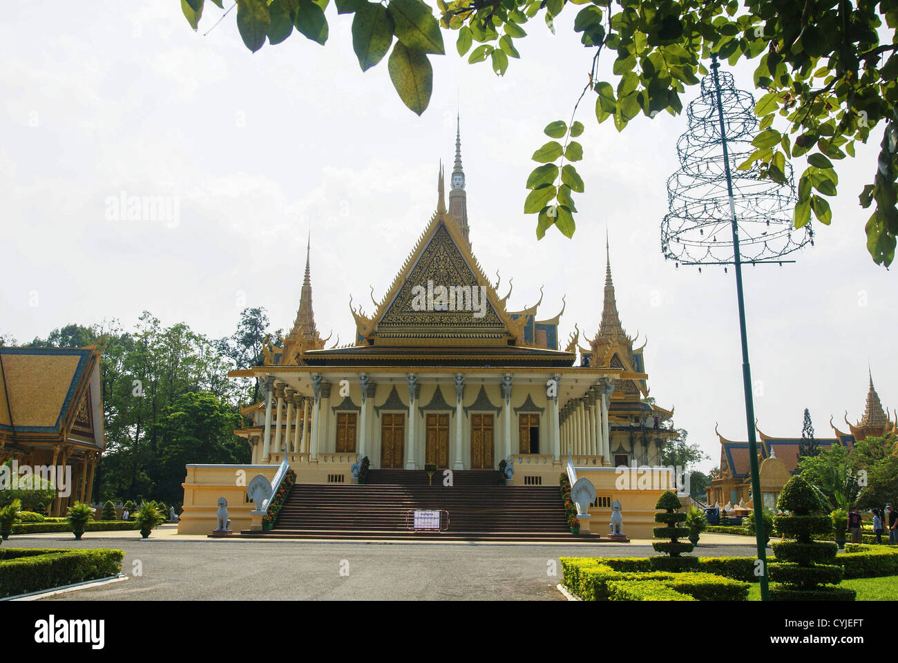 Cambodia, Phnom Penh, Royal Palace, Throne Hall - Stock Image