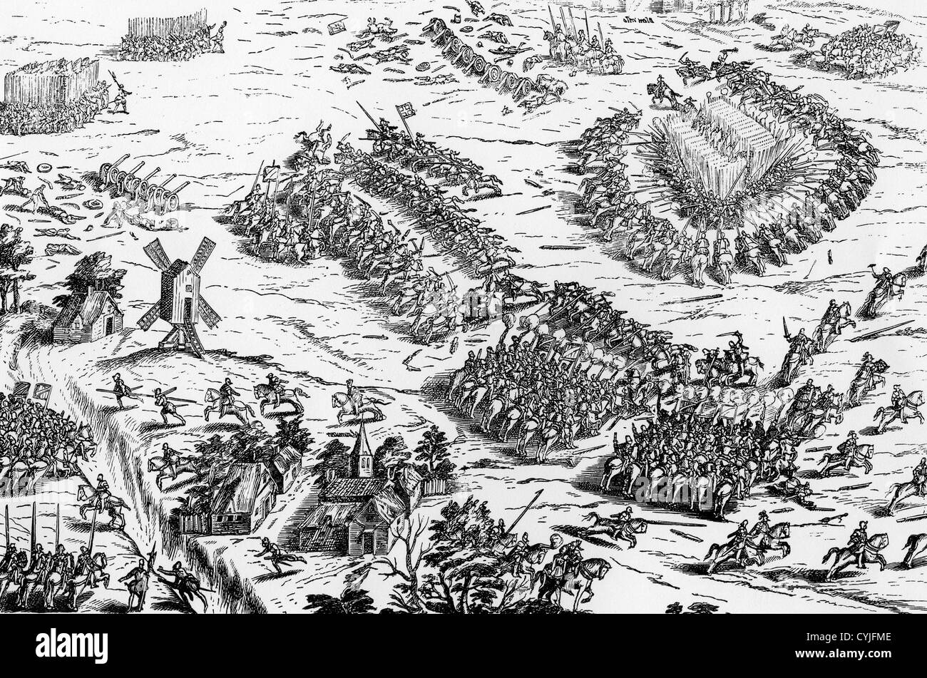 BATTLE OF DREUX  19 December 1562 when Catholic leader Francois de Guise defeated the Hugenots - Stock Image