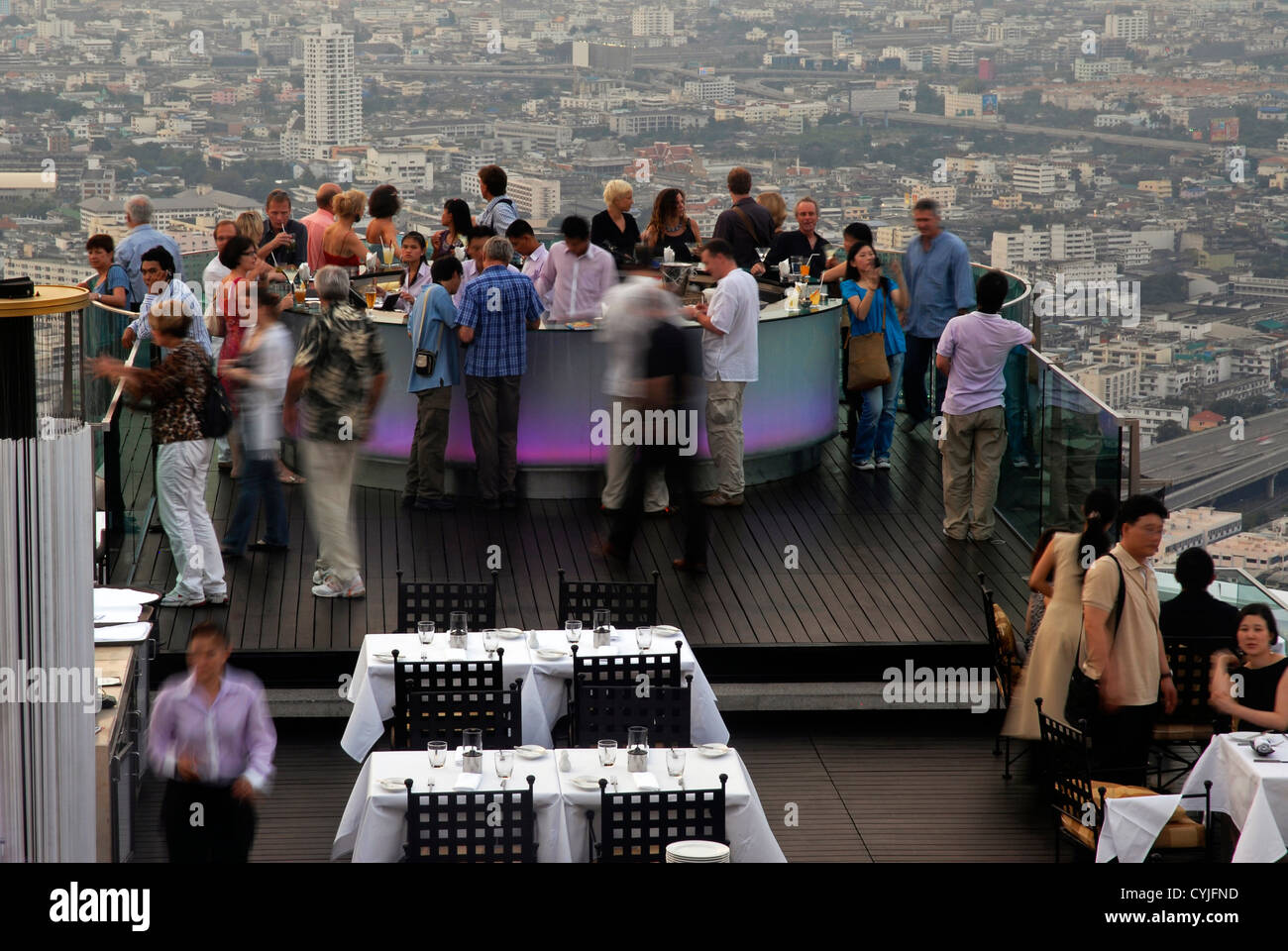 View, Panoramic, people, Nightlife, Bangkok, Sirocco, Dome,  Sky Bar, Sight, Thailand, Asia - Stock Image