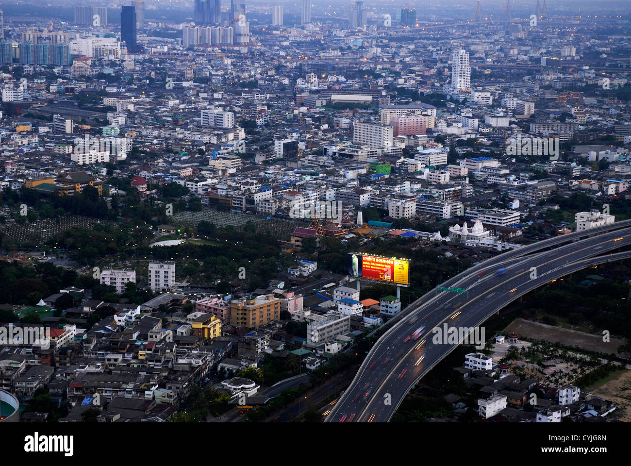 View, Panoramic, Nightlife, Bangkok, Dome,  Sirocco, Sky Bar, Sight, Thailand, Asia - Stock Image