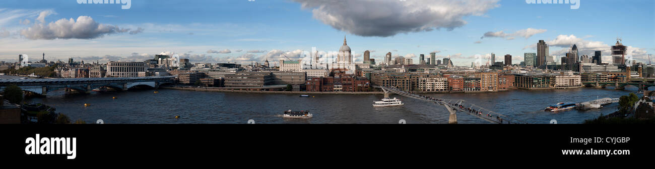 St Pauls Cathedral and River Thames view from Tate Modern Art Gallery. London England UK. 11-2012 8 picture join Stock Photo