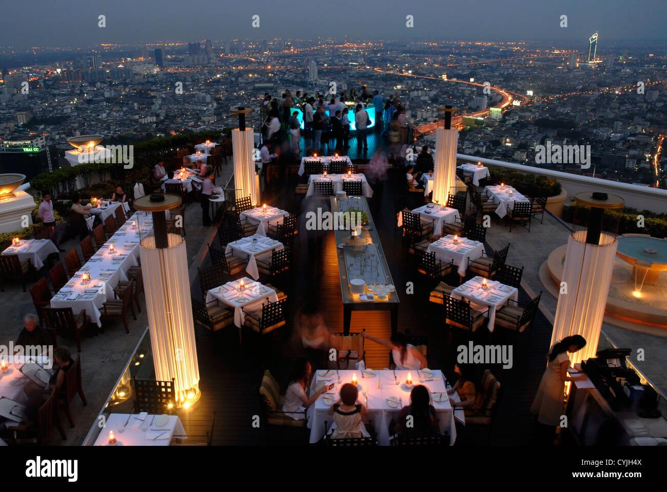 Restaurant, Sirocco, Dome,  State Tower. Bangkok, Sky Bar, Sight,  Thailand,  Asia, - Stock Image