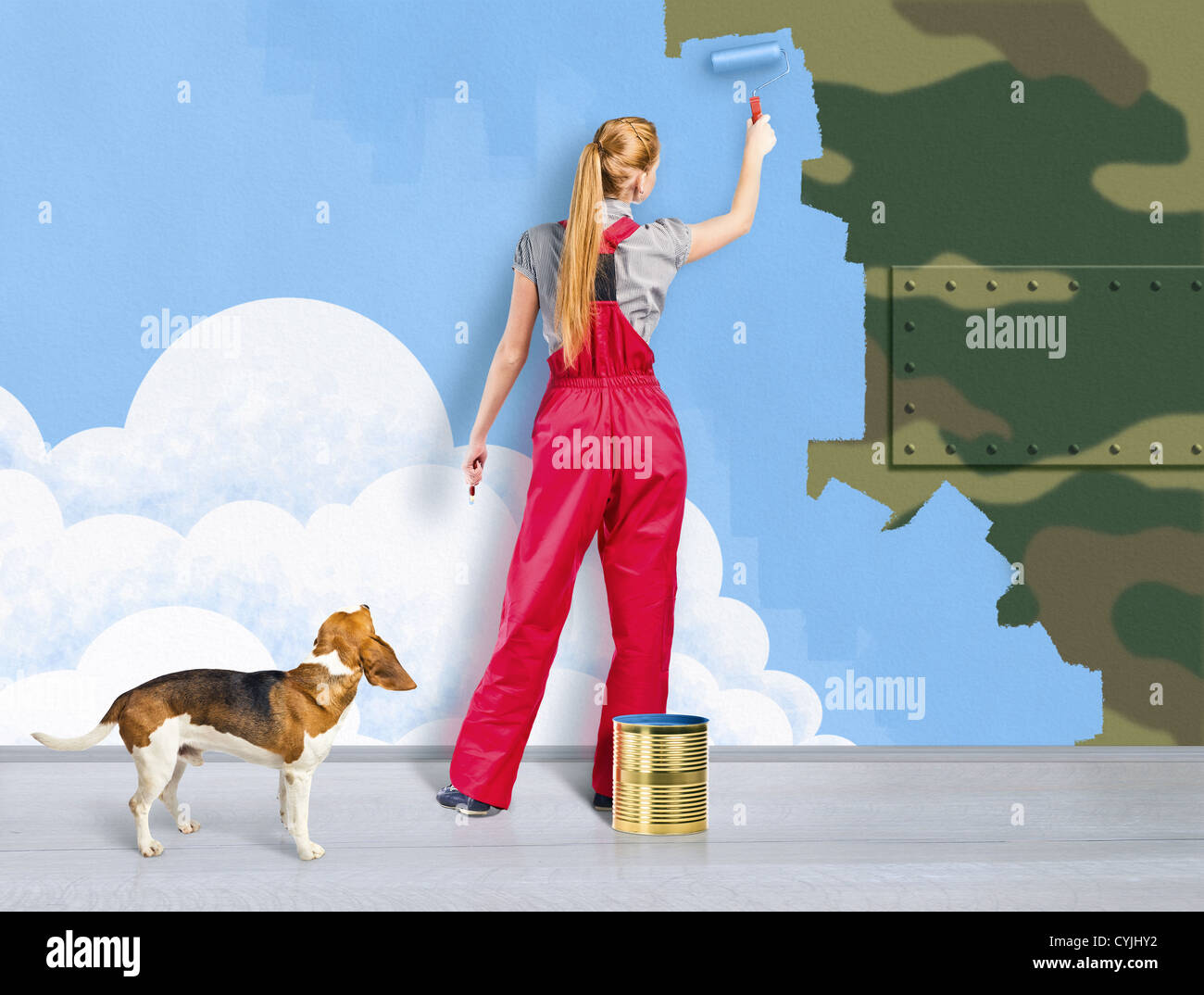 Concept image against militarism and arms - Stock Image