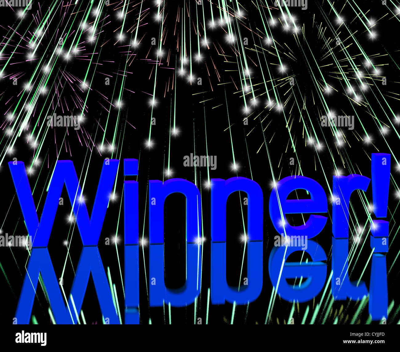 Winner Word With Fireworks Showing Successes And Victory - Stock Image