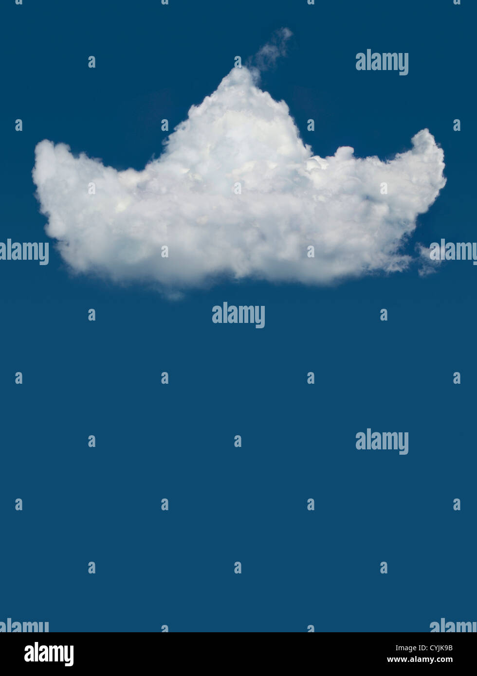 Boat shaped cloud isolated on blue sky - Stock Image