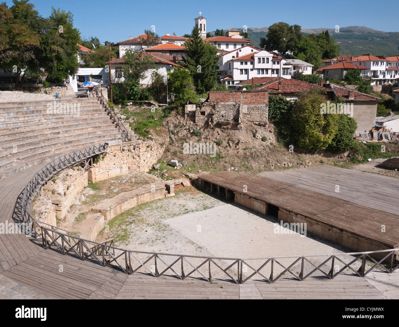 c. 2000 year old Hellenic/Roman amphitheatre, at the UNESCO protected city of Ohrid, Republic of Macedonia. - Stock Image