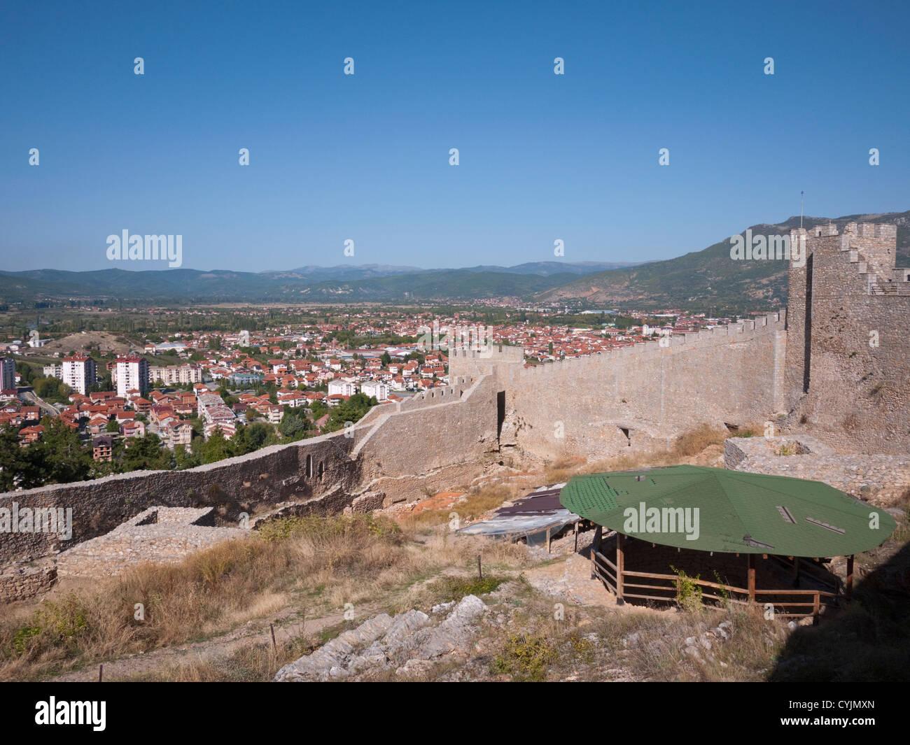 Inside the walls of 10th Century Tsar Samuil's fortress, Ohrid, Republic of Macedonia - Stock Image