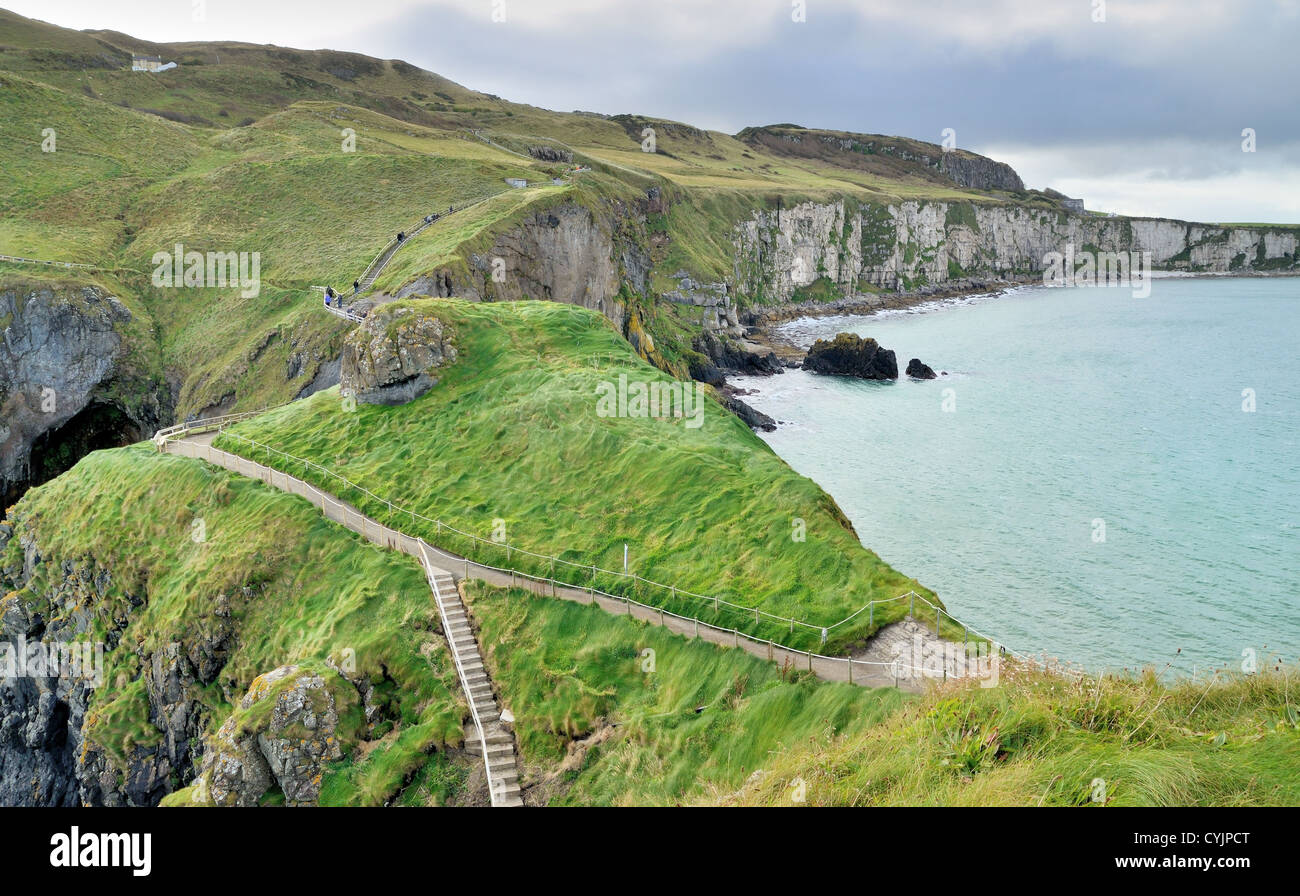 Footpath to the Rope bridge, Carrick-a-rede island. - Stock Image