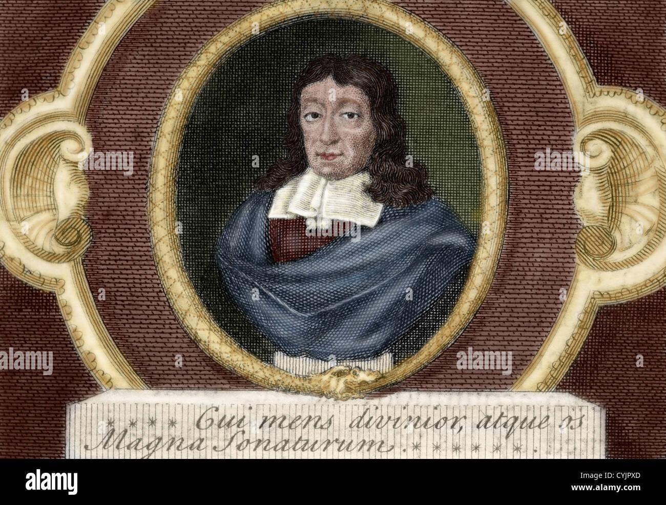 John Milton (1608-1674). British poet. Colored engraving. 19th century. - Stock Image