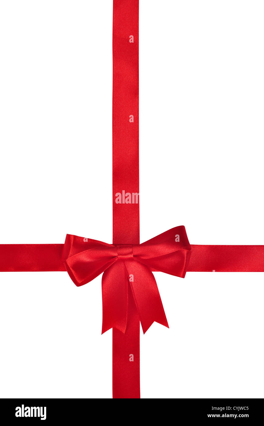 Red ribbon with bow isolated on white background. Clipping path included. Stock Photo