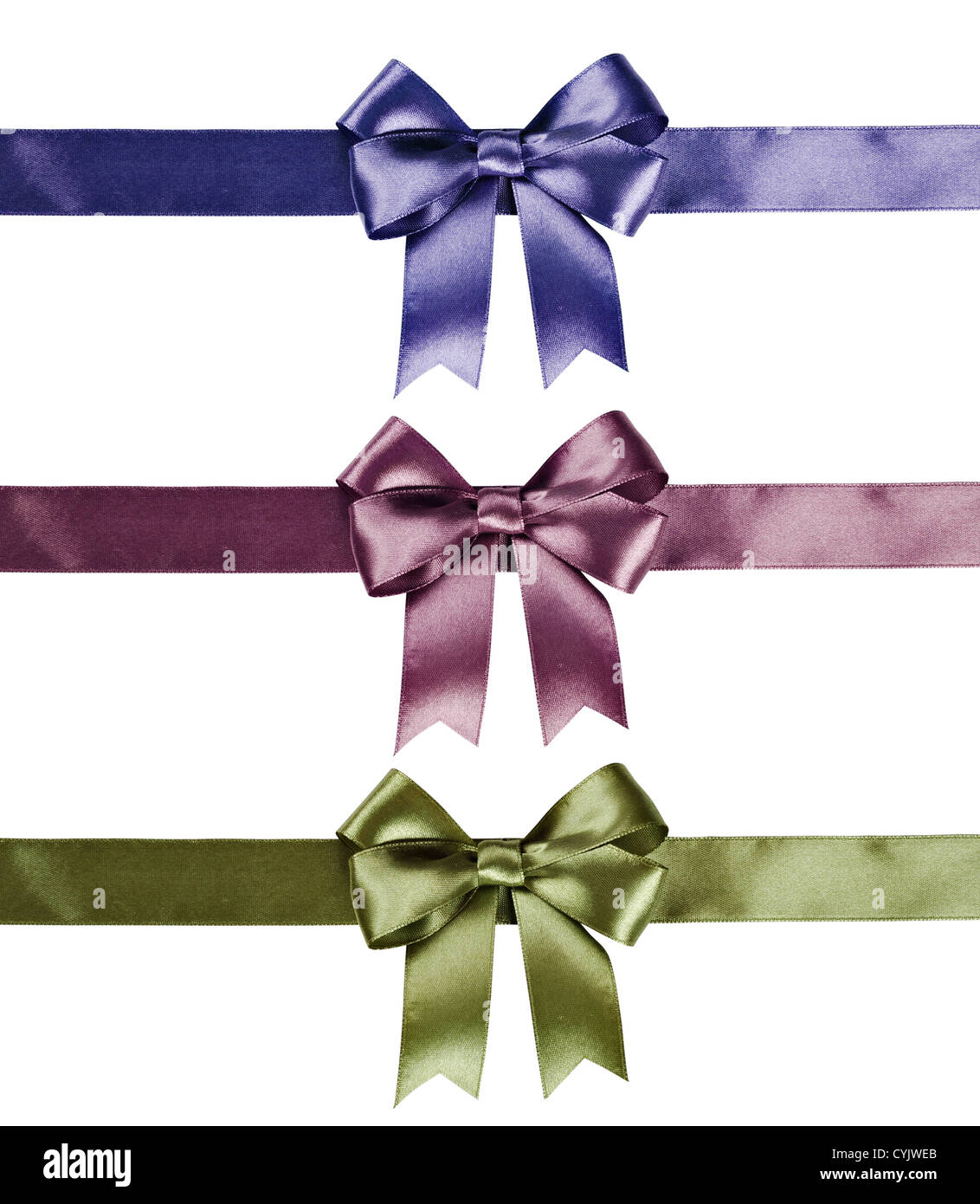 Set of ribbon bows - green, pink, violet on white background. Clipping path for each bow included. - Stock Image