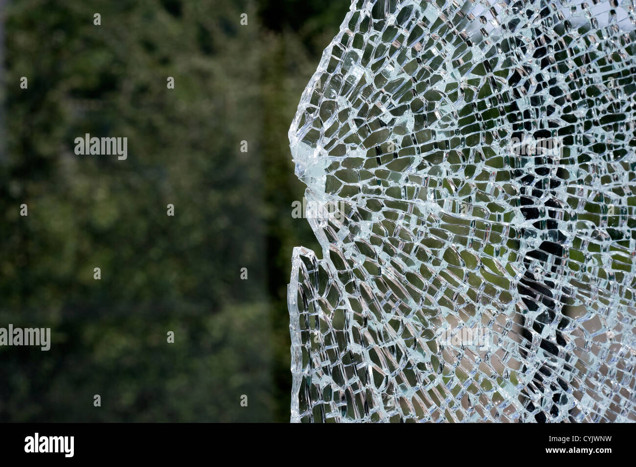 A broken window at a busstop caused bij vandalism - Stock Image