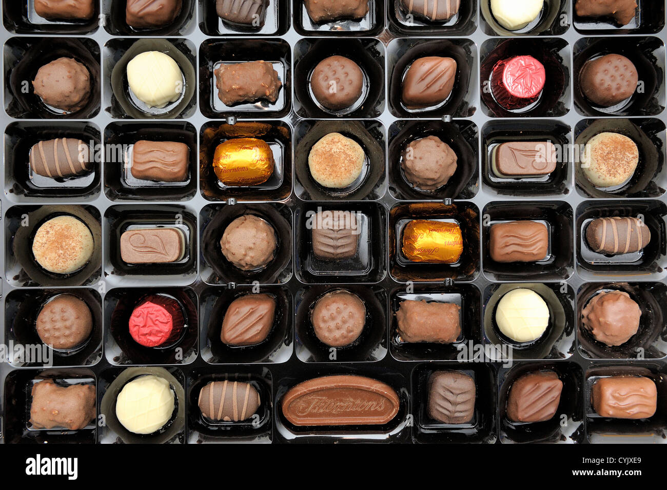 tray of thorntons assorted chocolates - Stock Image