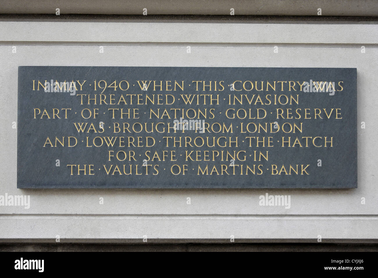 Sign Detailing the Role Of Martins Bank In Safe-guarding The UK's Gold Reserve During The Second World War - Stock Image
