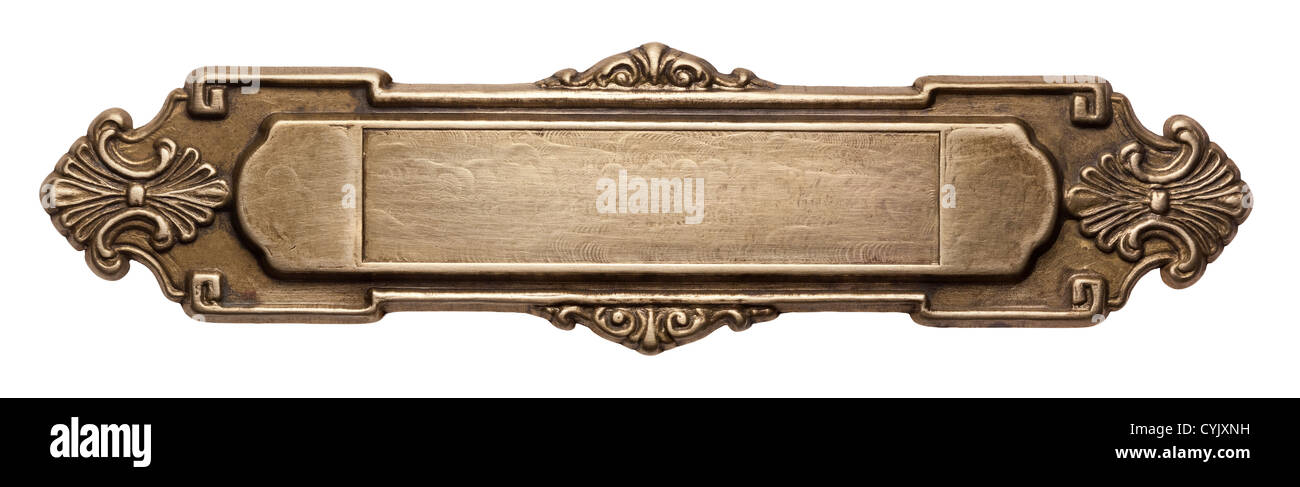 Vintage ornate metal frame, isolated. - Stock Image