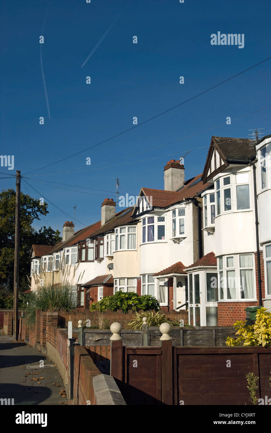 terrace of 1930s houses with bay windows, whitton, middlesex, england - Stock Image