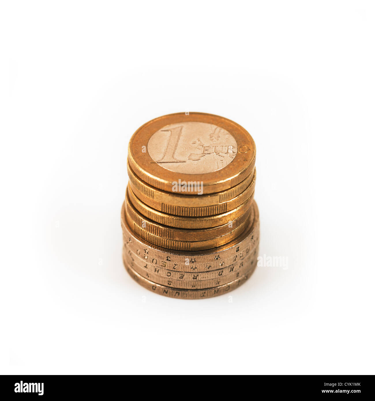 Stack of 1 Euro and 2 Euro coins - Stock Image