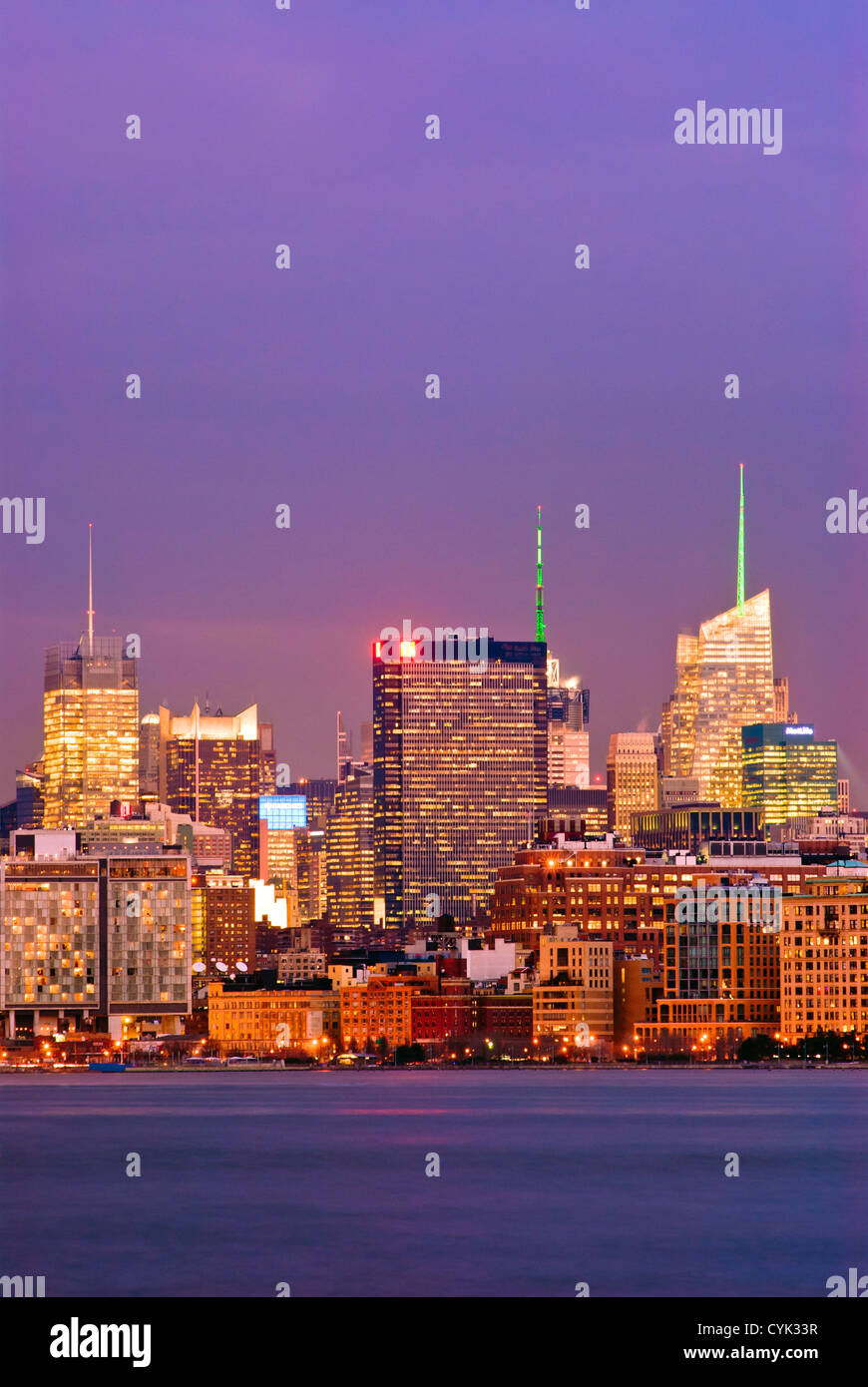 Midtown West Skyline, New York City, Manhattan, including the New York Times, One Penn Plaza and Bank of America - Stock Image