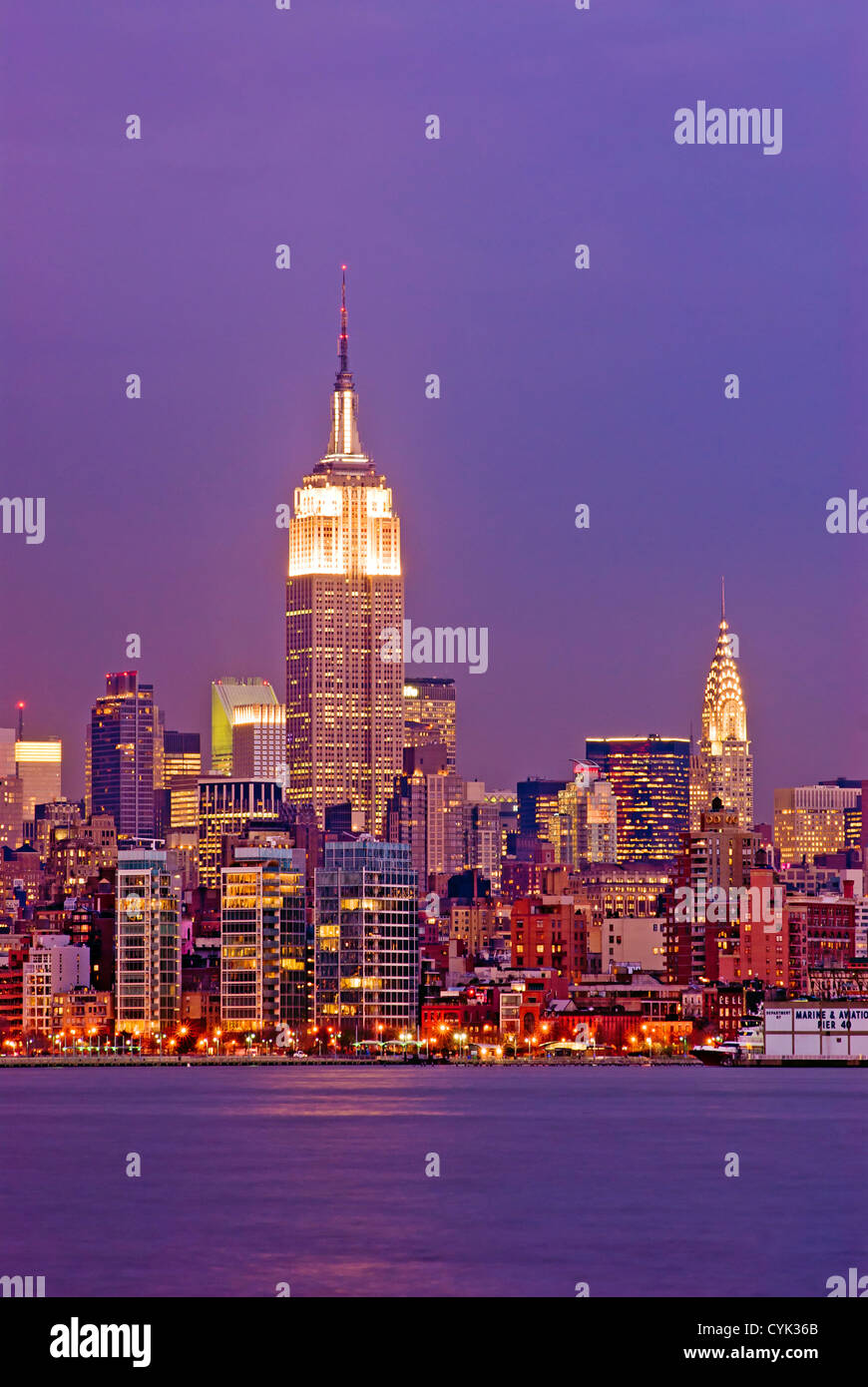 Manhattan Empire State Building Chrysler Building  the Hudson River, New York City Stock Photo
