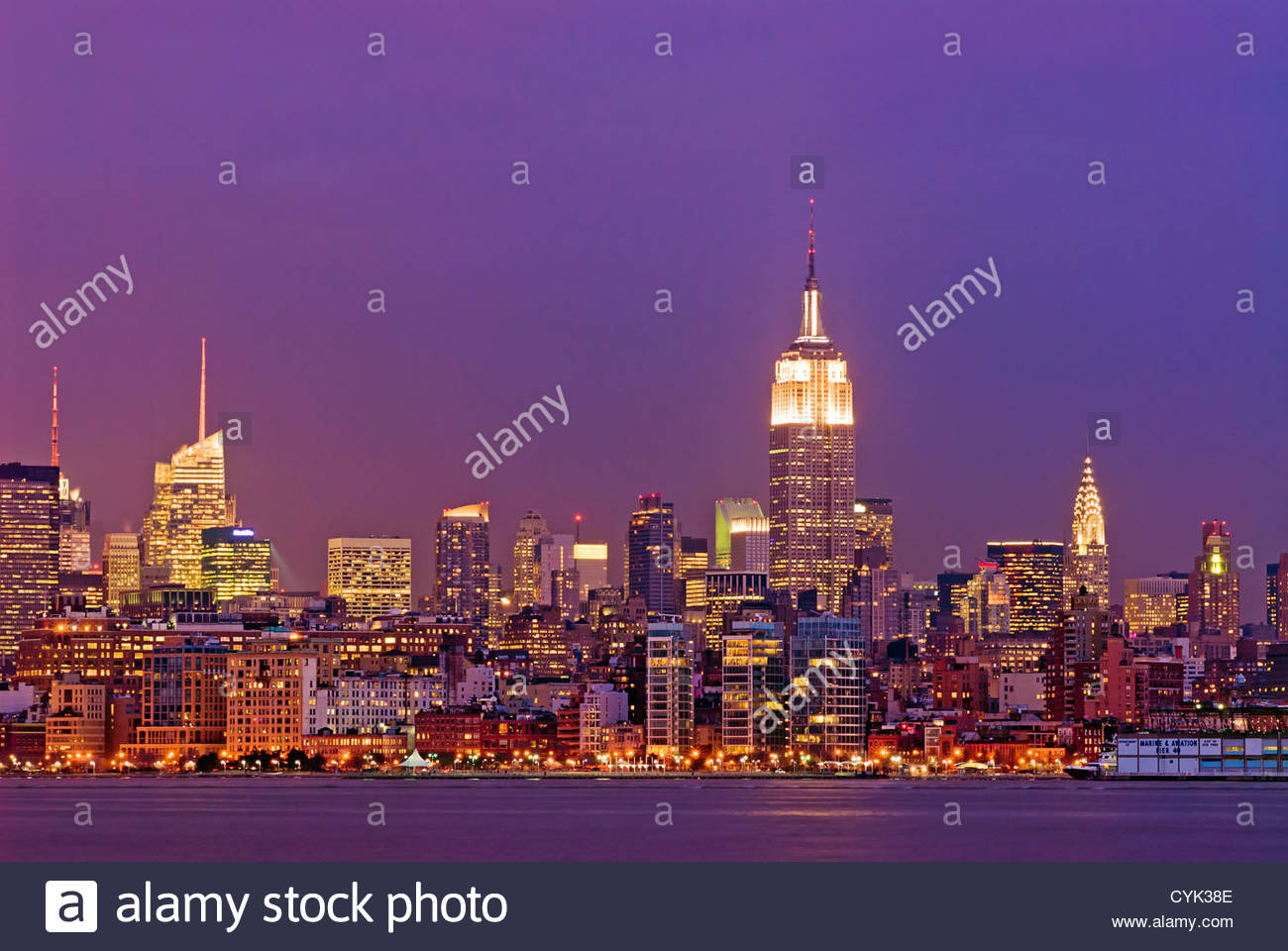 Manhattan Skyline with the Bank of America Building, Empire State Building and the Chrysler Building, New York City. Stock Photo