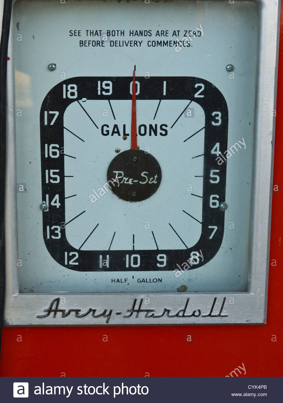 Old Avery Hardoll Petrol Pump analog Dial Face England - Stock Image