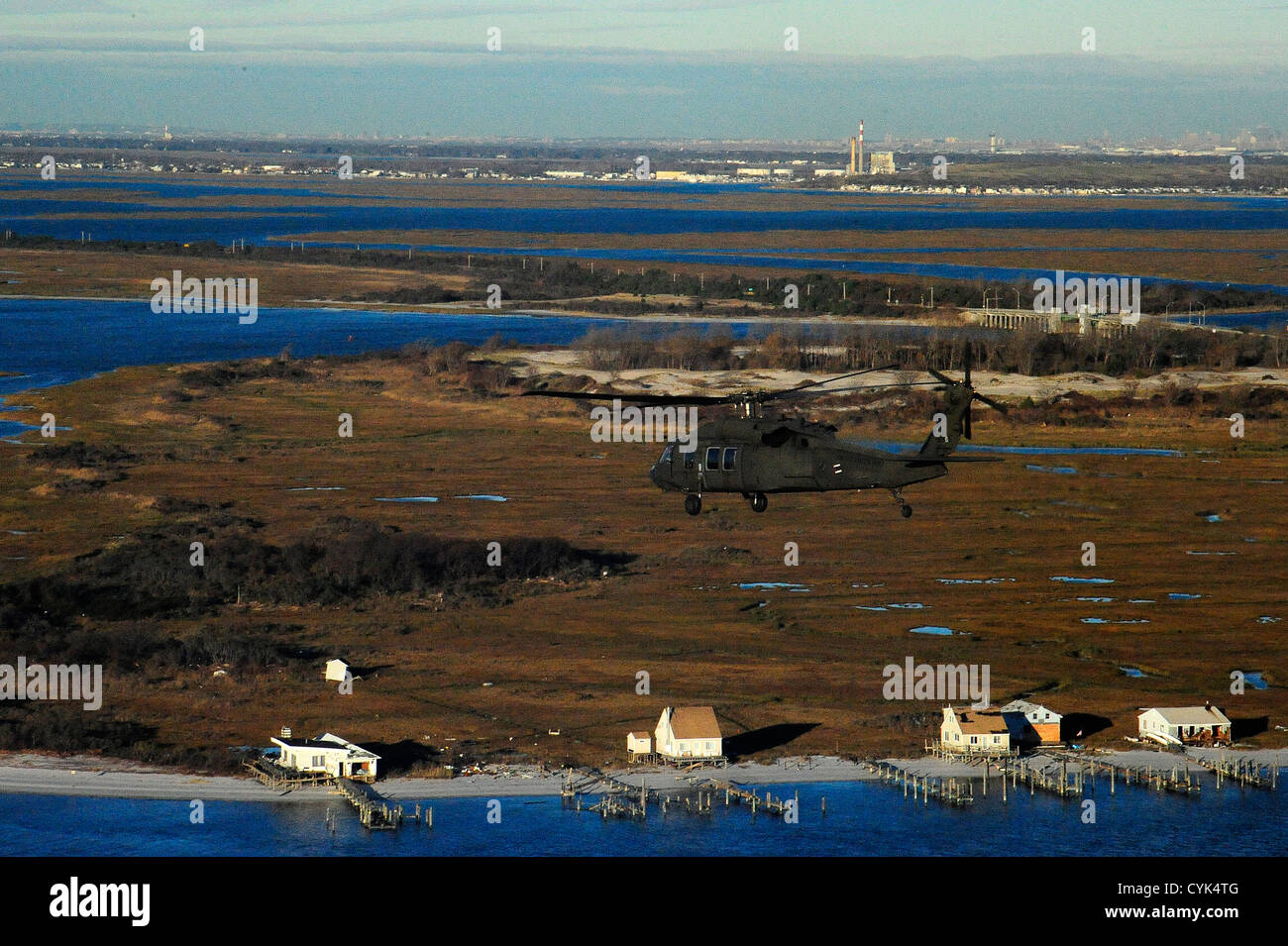 JOINT BASE MCGUIRE-DIX-LAKEHURST, N.J. – An aerial view of storm damage along the coast of New York from a Georgia Stock Photo
