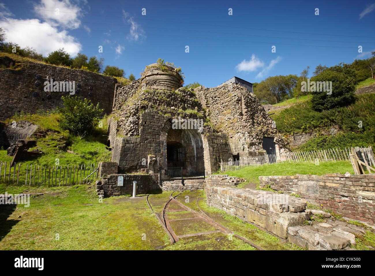 Remains of the furnace, Blaenavon Ironworks museum, Blaenavon, Wales, UK - Stock Image