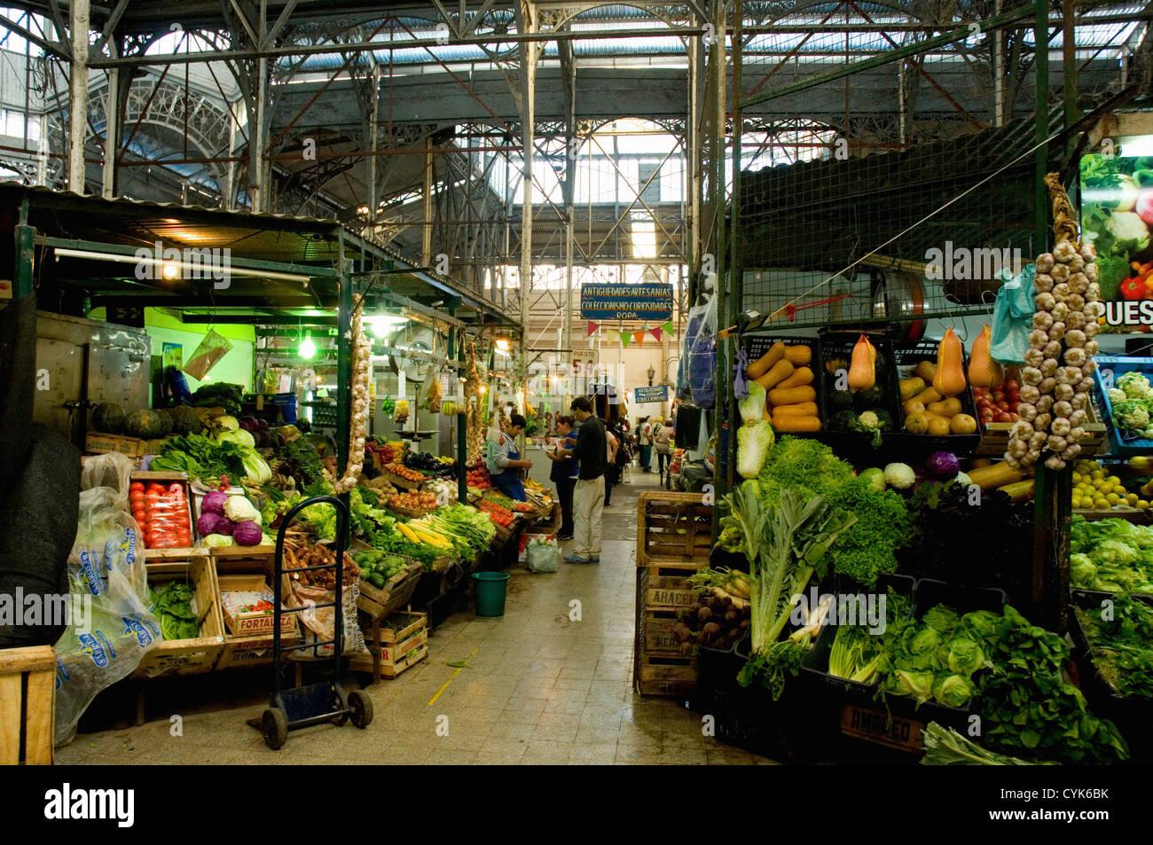 Argentina. Buenos Aires. San Telmo. Mercado San Telmo. Produce stall. Stock Photo