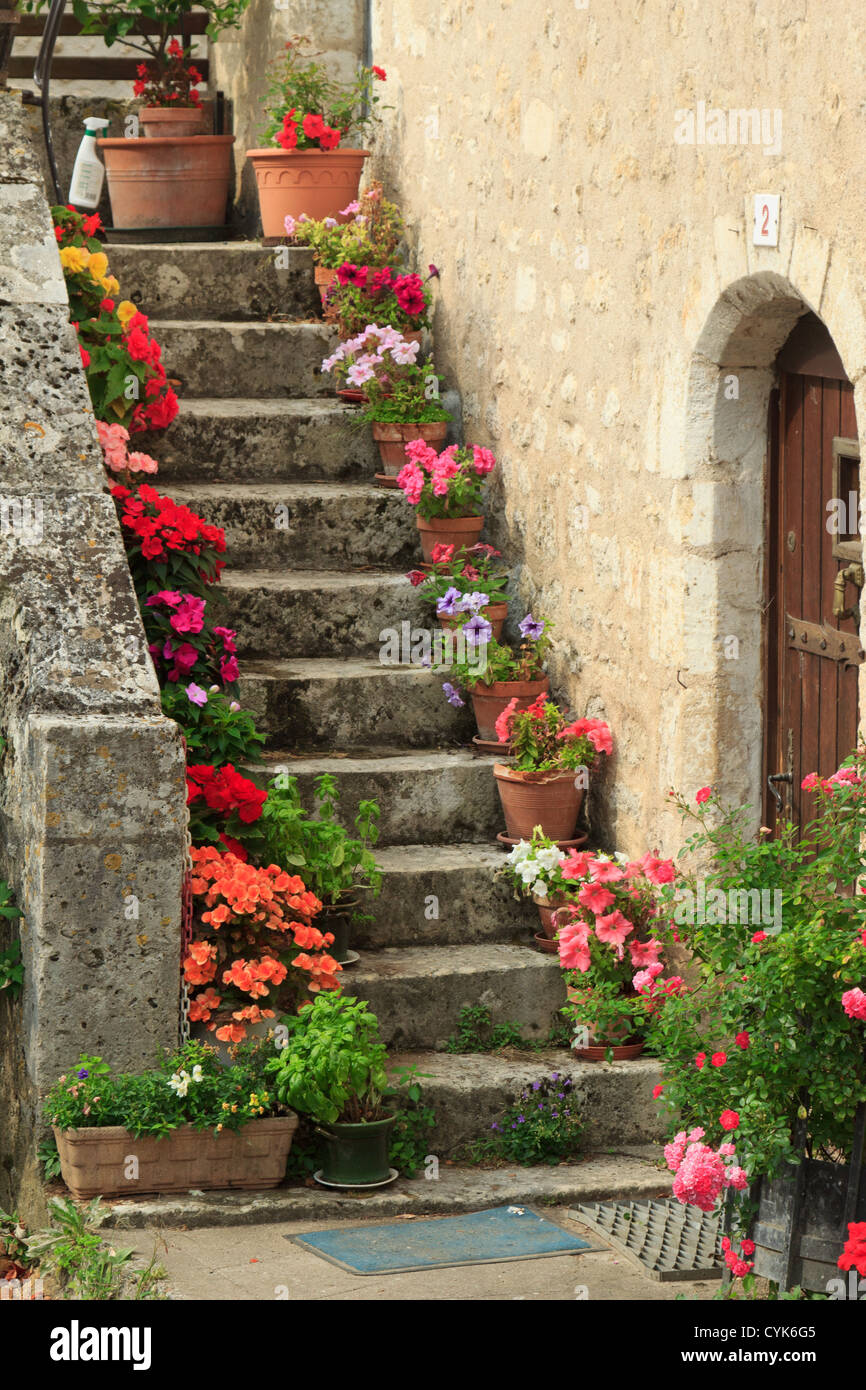 France, Vienne, Angles-sur-l'Anglin, flowered stair - Stock Image