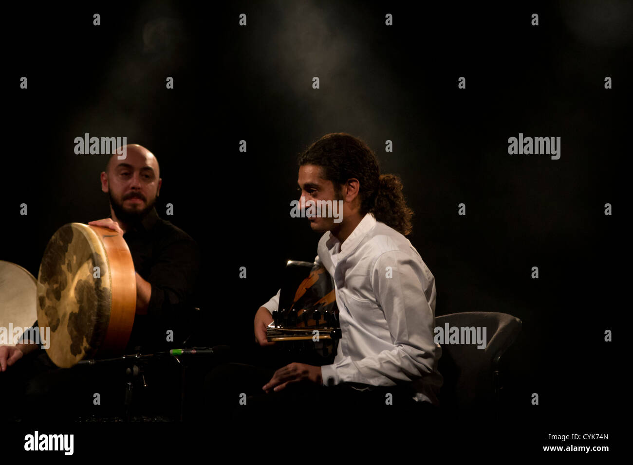 British Iraqi musician Khyam Allami performs live during the WOMEX 12 world music exhibition in Thessaloniki. - Stock Image