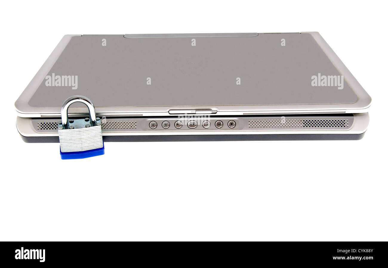 Padlock on laptop computer representing security Stock Photo