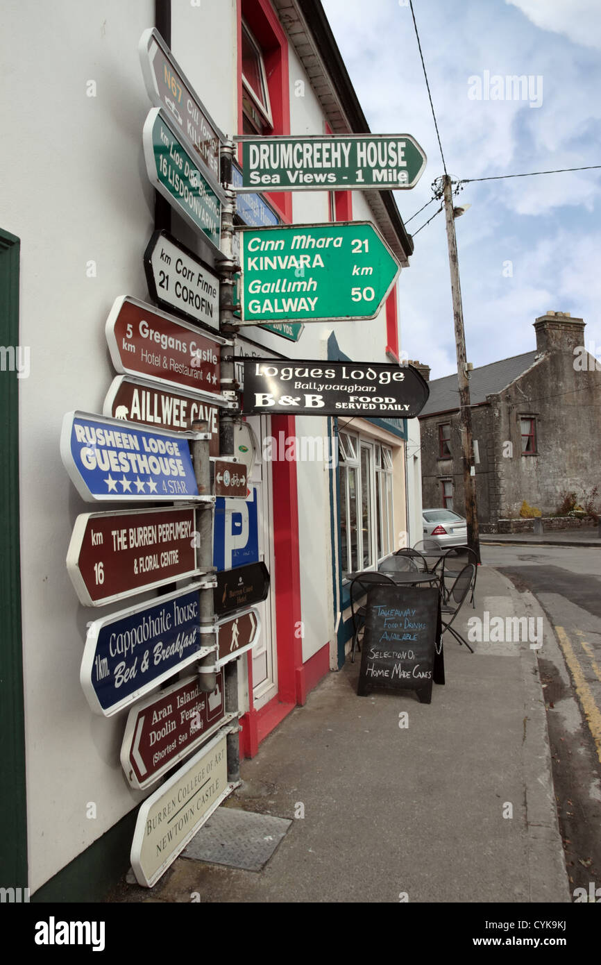 road signs in ballyvaughan county clare ireland - Stock Image