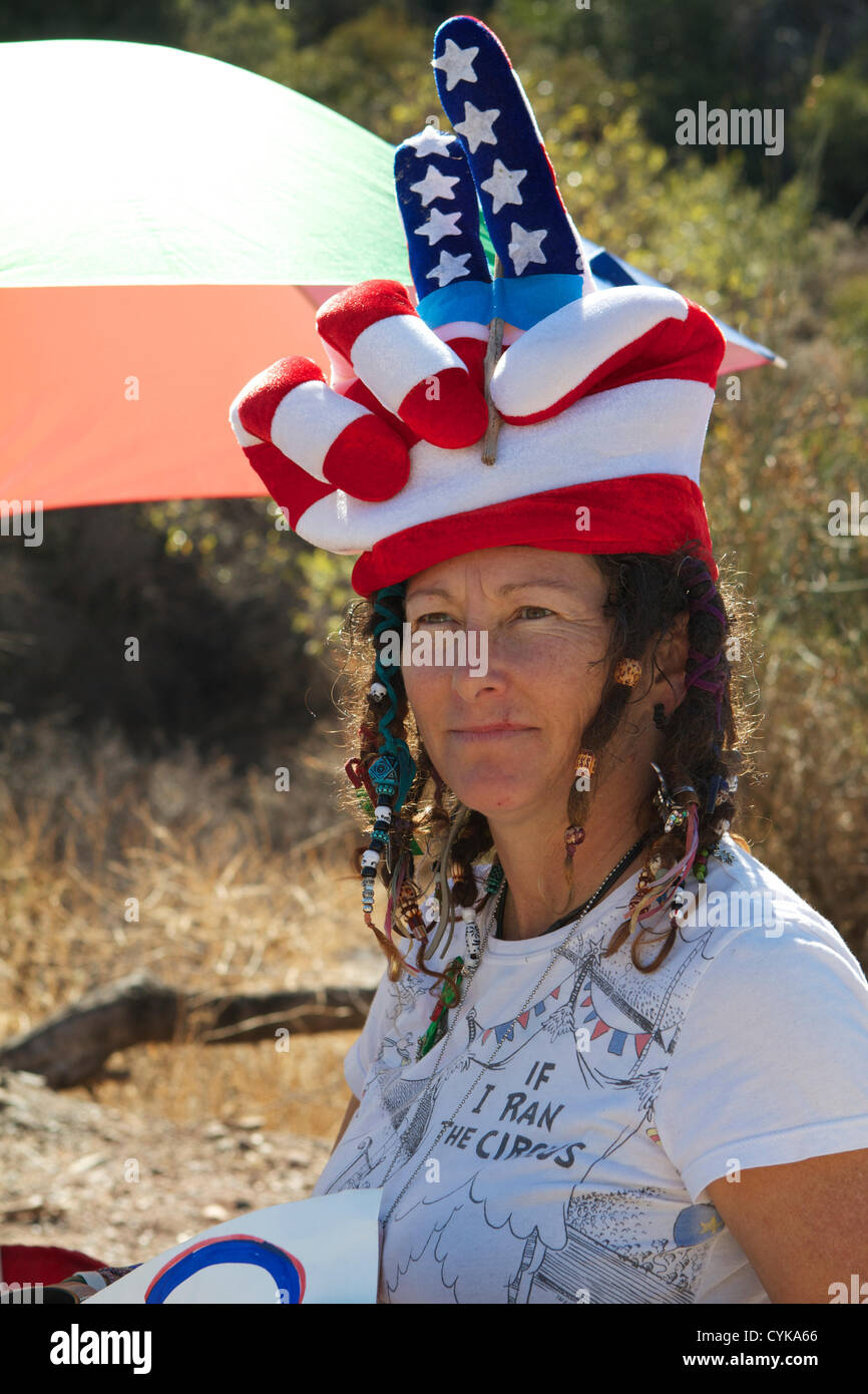 Californian Voters being urged to vote and make their voices heard, outside a polling station in Santiago Canyon, Stock Photo