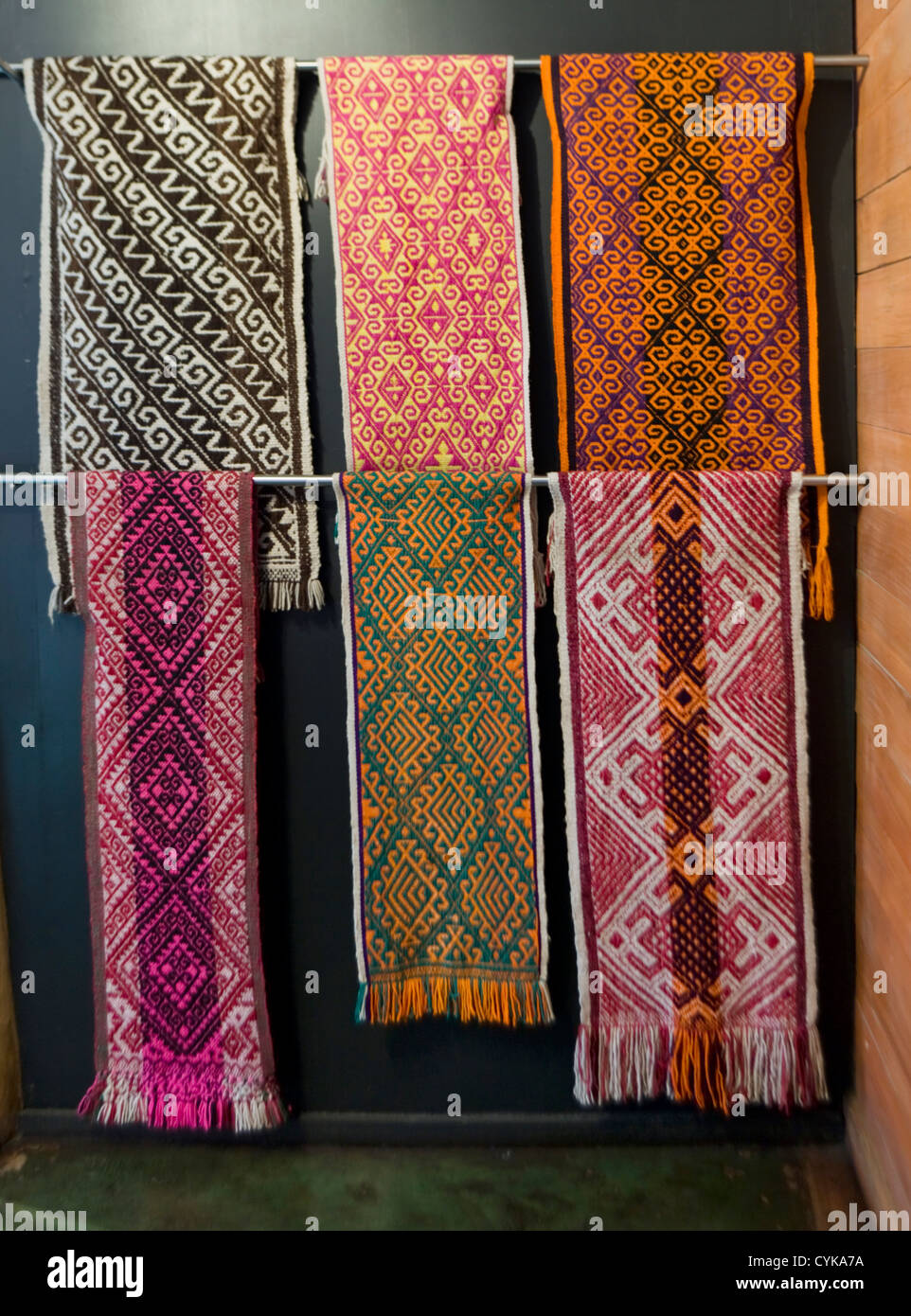 Chile. South America. Mapuche Museum and Cultural Center in Curarrehue. Mapuche weaving display. Araucania Region. - Stock Image