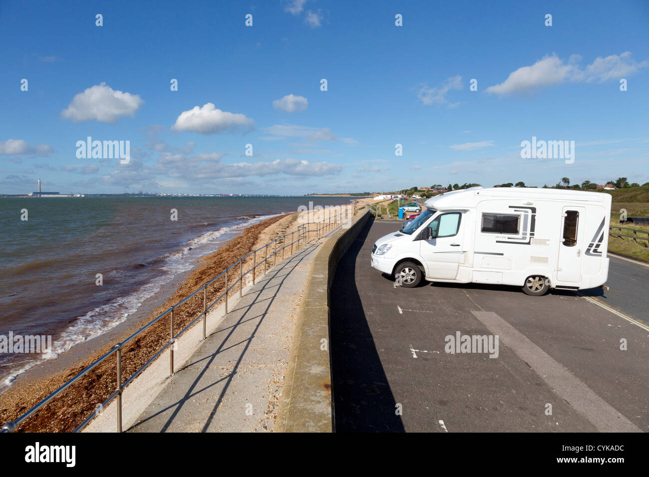 Titchfield Sea Front; Hampshire; UK; motor home parked; - Stock Image